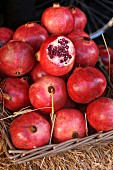 A basket of pomegranates