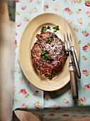 Fried ox steak with parsley