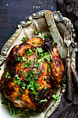 Grilled capon with parsley