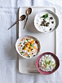 Okra raita, mango raita, and cucumber and mint raita (India)