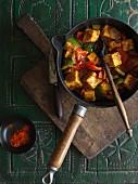Pepper karahi with Paneer cheese (India)