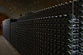 Alte Weinflaschen in Metallgestell in einem Gewölbekeller