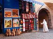 A souvenir shop next to an archway — entrance to the Cité Portugaise, El Jadida, Morocco