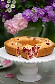 Raspberry and orange cake on a cake buffet in a garden