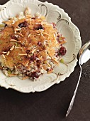 Fried rice with almonds and berries