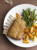 Rack of lamb with green beans and roast potatoes