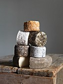 A stack of goat's cheese from Normandy
