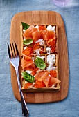 Smoked salmon and chum salmon caviar with cream and basil