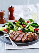 Tray of Greek lamb salad