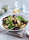 Healthy vegetable salad with chopped nuts
