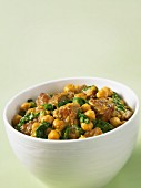 Beef curry with chickpeas and spinach