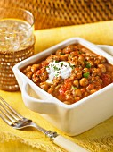 Chickpea and sausage curry with yogurt