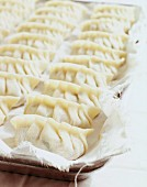 Unsteamed, raw pasta parcels filled with pork on a cotton cloth