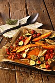 Spicy oven roasted vegetables: potatoes with summer vegetables
