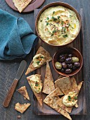 Hummus, olives and unleavened bread