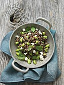 Quinoa salad with edamame, mint and feta