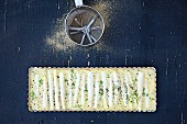 Coconut and asparagus tart (seen from above)