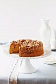 Rhubarb, orange and halzelnut cake
