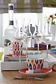 Retro patterned espresso cups and grappa glasses