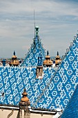 The light blue ceramic roof of the Geological and Geophysical Institute of Hungary in Budapest (detail)