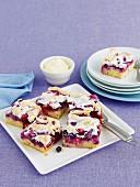 Apple and berry meringue cake