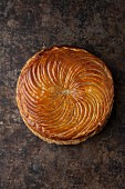 Galette des Rois on a baking tray (seen from above)