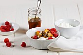 Greek yogurt with fresh fruit, cereals and honey