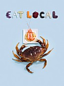 A crab, prawns on pasta and the phrase 'Eat local'
