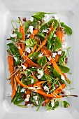 Spinach salad with roasted carrots
