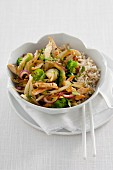 Stir-fried broccoli, fennel and chicken with rice