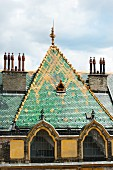 Hungarian art nouveau architecture by Ödön Lechner – the colourful pyrogranite roof of the former post office bank, Budapest, Hungary (detail)