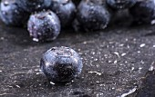 Wet Blueberries; Close Up