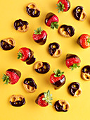 Chocolate strawberries and chocolate pretzels