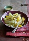 Kohlrabi with potatoes in a yellow sauce