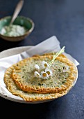 Herb pancakes with coconut chutney