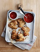 Tortilla crumbed chicken with tequila sauce