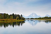 A lake with a panoramic view of the mountains in the Grand Teton National Park (Wyoming, USA)