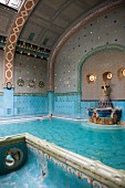 Pool with a statue in the Gellért Baths, Budapest, Hungary
