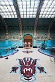 The art nouveau Gellért Baths decorated with artistic mosaics, Budapest, Hungary
