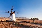 A traditional windmill on Fuerteventura; El Cotillo, Canary islands, Spain