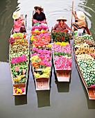 Women in boats laden with fruit and flowers, Damnoen Saduak floating market, Bangkok, Thailand, South-East Asia