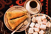 Typical Turkish desserts: baklava, loukoumi (Turkish delight) and Turkish coffee