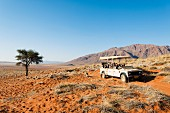 Wolwedans, NamibRand Nature Reserve, Namibia, Africa – visitors coming on a Jeep tour