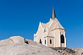 The monolithic church on the Diamantberg is the most famous landmark of Lüderitz, Namibia, Africa