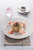 Fried rice with edible flowers and prawns (Thailand)
