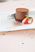 Chocolate mousse cake with strawberries for Valentine's Day