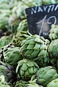 Fresh artichokes at the market