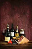 Products from the Emilia Romagna region: wine, ham, chocolate, cheese, honey