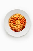 Spaghetti with lupin bolognese made from lupin seeds