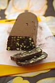Chocolate salami with pistachio nuts